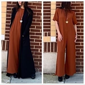 Pants - Wide leg chic ankle length side pocket jumpsuit